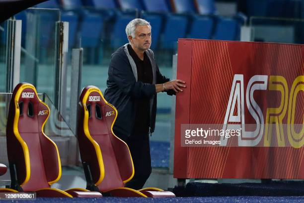 Jose Mourinho Head Coach of AS Roma after getting a red card by the referee Davide Massa during the Serie A match between AS Roma and SSC Napoli at...