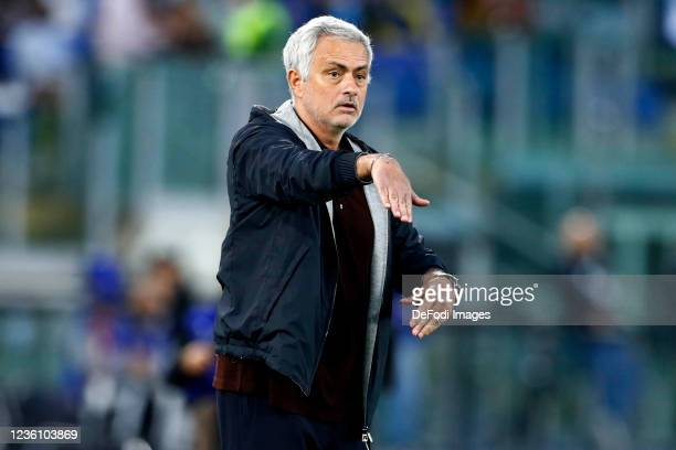 Jose Mourinho Head Coach of AS Roma gestures during the Serie A match between AS Roma and SSC Napoli at Stadio Olimpico on October 24, 2021 in Rome,...