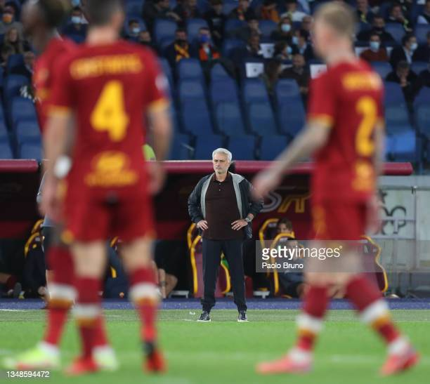 Jose Mourinho, Head Coach of AS Roma looks on during the Serie A match between AS Roma and SSC Napoli at Stadio Olimpico on October 24, 2021 in Rome,...