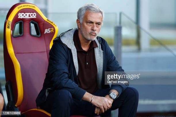 Jose Mourinho Head Coach of AS Roma looks on prior to the Serie A match between AS Roma and SSC Napoli at Stadio Olimpico on October 24, 2021 in...
