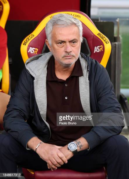 Jose Mourinho, Head Coach of AS Roma looks on prior to the Serie A match between AS Roma and SSC Napoli at Stadio Olimpico on October 24, 2021 in...