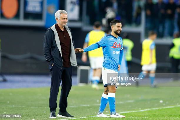 Jose Mourinho Head Coach of AS Roma talks with Lorenzo Insigne of SSC Napoli during the Serie A match between AS Roma and SSC Napoli at Stadio...