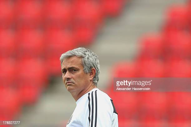 Jose Mourinho head coach of Chelsea looks on during a training session prior the UEFA Super Cup finale match at Eden Arena on August 29 2013 in...