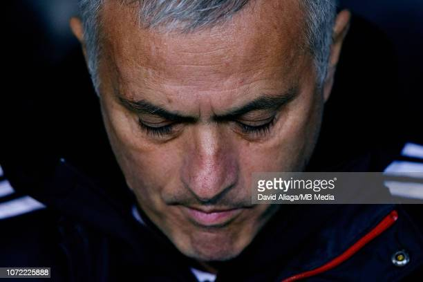 Jose Mourinho head coach of Manchester United looks down prior to the UEFA Champions League Group H match between Valencia and Manchester United at...