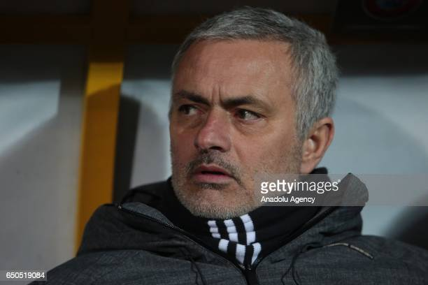 Jose Mourinho, Head coach of Manchester United looks on during the UEFA Europa League Round of 16 first leg match between FC Rostov and Manchester...