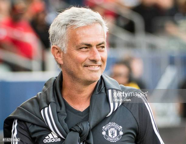 Jose Mourinho head coach of Manchester United prior to the Los Angeles Galaxy's friendly match against Manchester United at the StubHub Center on...