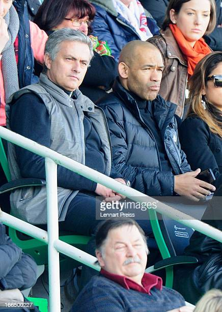 Jose Mourinho head coach of Real Madrid watches the Bundesliga match between SpVgg Greuthern Fuerth and Borussia Dortmund at TrolliArena on April 13...