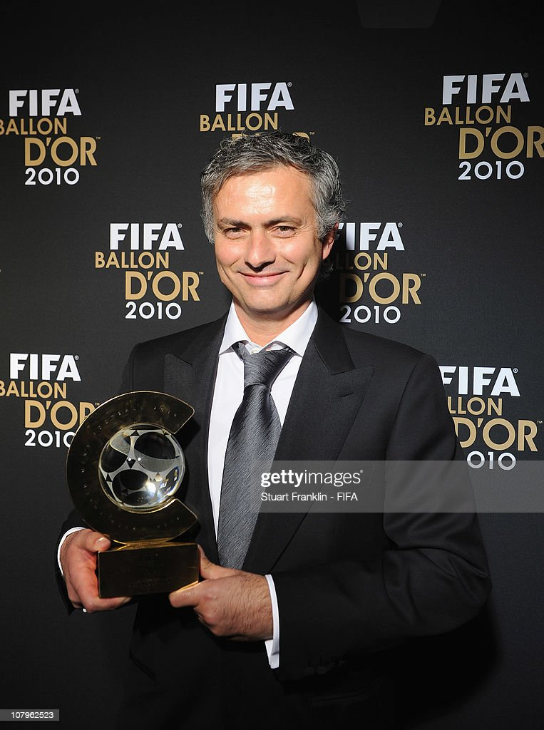 Jose Mourinho, head coach of Real Madrid with his FIFA coach of the year award at the FIFA Ballon d'Or Gala 2010 t the congress hall on January 10, 2011 in Zurich, Switzerland.