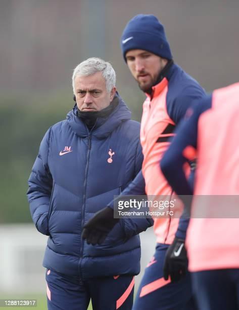 Jose Mourinho Head Coach of Tottenham Hotspur and Harry Kane during the Tottenham Hotspur training session at Tottenham Hotspur Training Centre on...