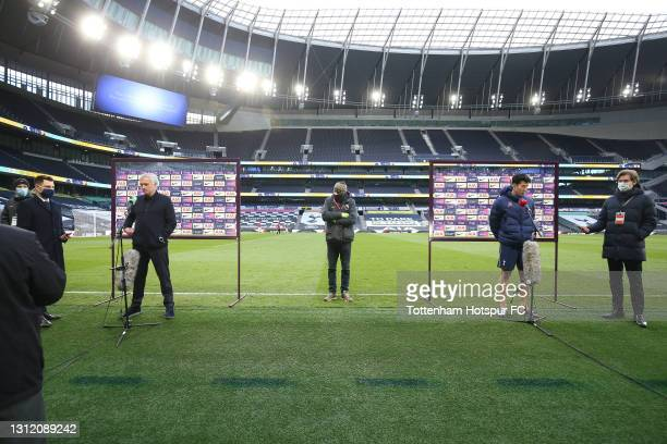 Jose Mourinho, Head Coach of Tottenham Hotspur and Heung-Min Son of Tottenham Hotspur are interviewed after the final whistle during the Premier...