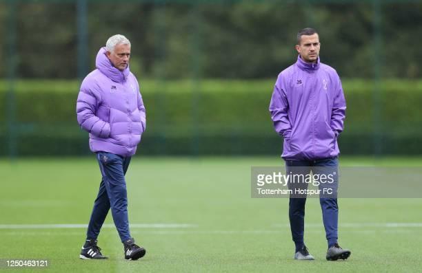 Jose Mourinho Head Coach of Tottenham Hotspur and Joao Sacramento Assistant Head Coach of Tottenham Hotspur during the Tottenham Hotspur training...