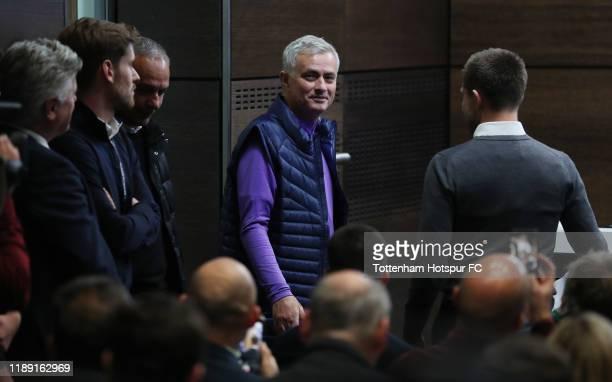 Jose Mourinho Head Coach of Tottenham Hotspur arrives during the Tottenham Hotspur press conference at Tottenham Hotspur Training Centre on November...