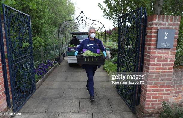 Jose Mourinho, Head Coach of Tottenham Hotspur delivers food produce from the Training Center to the Tottenham Hotspur Stadium food hub to aid the...