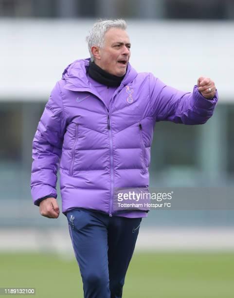 Jose Mourinho Head Coach of Tottenham Hotspur during the Tottenham Hotspur training session at Tottenham Hotspur Training Centre on November 21 2019...
