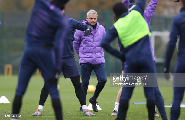 Jose Mourinho Head Coach of Tottenham Hotspur during the Tottenham Hotspur training session at Tottenham Hotspur Training Centre on November 21 2019...