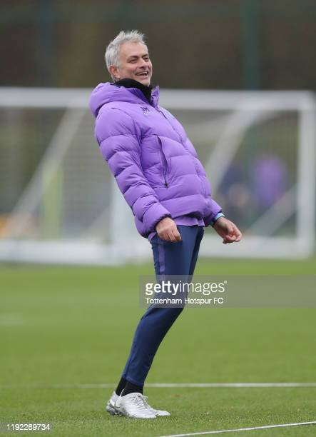 Jose Mourinho Head Coach of Tottenham Hotspur during the Tottenham Hotspur training session at Tottenham Hotspur Training Centre on December 06 2019...