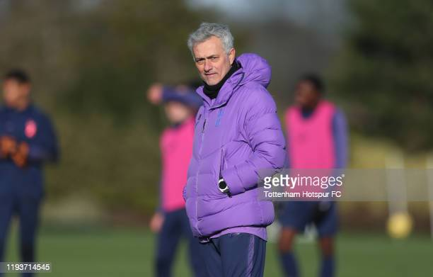 Jose Mourinho Head Coach of Tottenham Hotspur during the Tottenham Hotspur training session at Tottenham Hotspur Training Centre on December 13 2019...