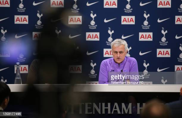 Jose Mourinho Head Coach of Tottenham Hotspur during the Tottenham Hotspur press conference at Tottenham Hotspur Training Centre on January 31 2020...