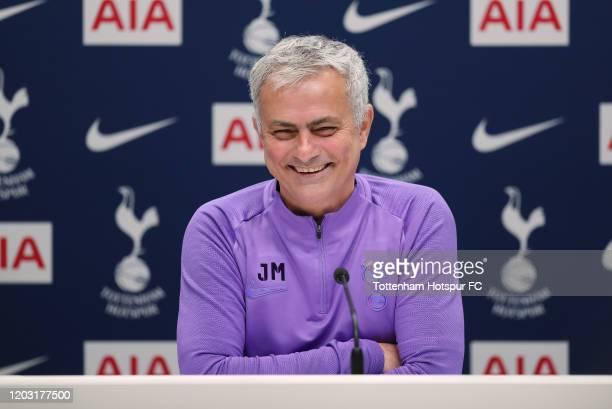 Jose Mourinho Head Coach of Tottenham Hotspur during the Tottenham Hotspur press conference at Tottenham Hotspur Training Centre on January 31 2020...