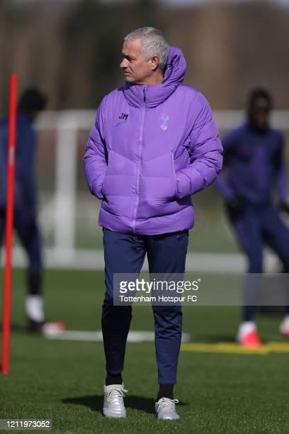 Jose Mourinho Head Coach of Tottenham Hotspur during the Tottenham Hotspur training session at Tottenham Hotspur Training Centre on March 12 2020 in...