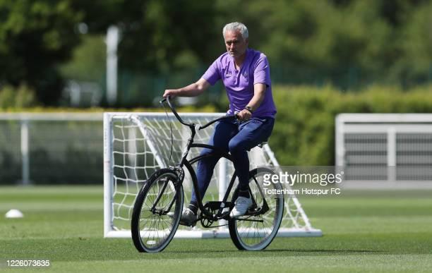 Jose Mourinho Head Coach of Tottenham Hotspur during the Tottenham Hotspur training session at Tottenham Hotspur Training Centre on May 20 2020 in...