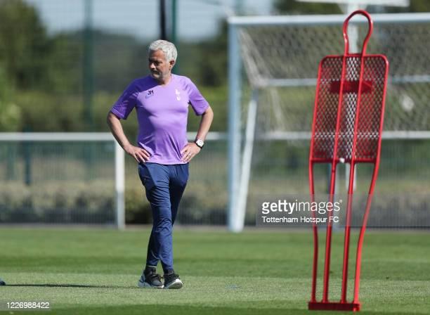 Jose Mourinho Head Coach of Tottenham Hotspur during the Tottenham Hotspur training session at Tottenham Hotspur Training Centre on May 25 2020 in...