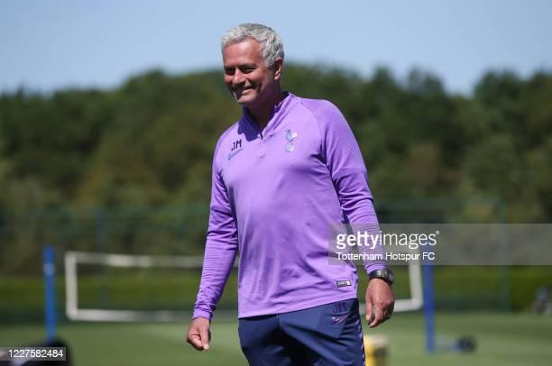 Jose Mourinho Head Coach of Tottenham Hotspur during the Tottenham Hotspur training session at Tottenham Hotspur Training Centre on May 28 2020 in...