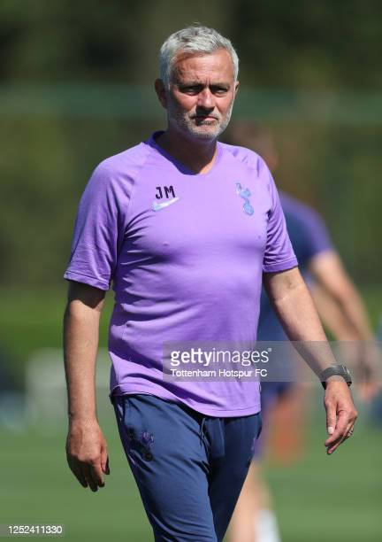 Jose Mourinho, Head Coach of Tottenham Hotspur during the Tottenham Hotspur training session at Tottenham Hotspur Training Centre on June 25, 2020 in...