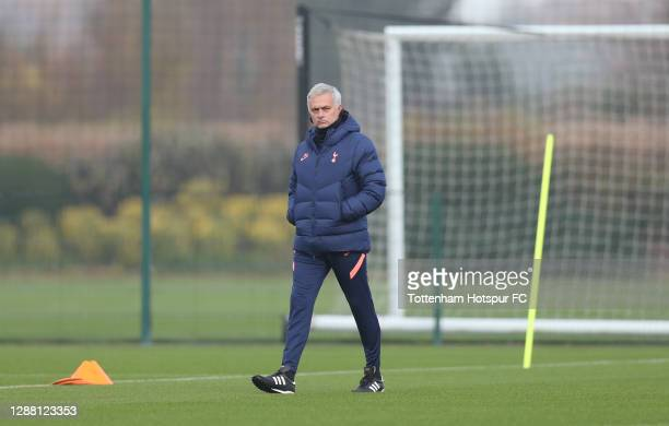 Jose Mourinho Head Coach of Tottenham Hotspur during the Tottenham Hotspur training session at Tottenham Hotspur Training Centre on November 27 2020...