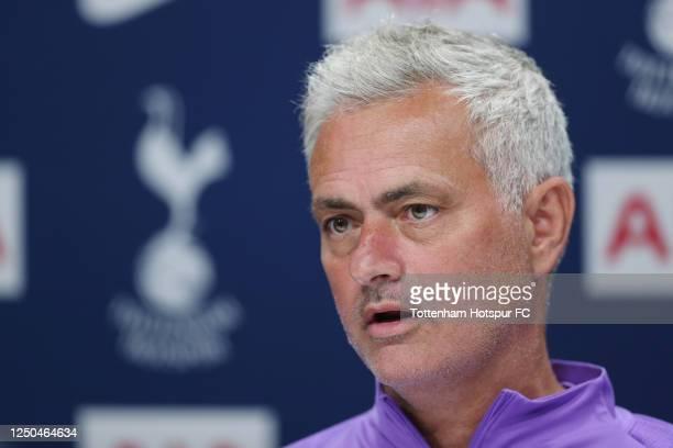 Jose Mourinho, Head Coach of Tottenham Hotspur during the virtual Tottenham Hotspur press conference at Tottenham Hotspur Training Centre on June 18,...
