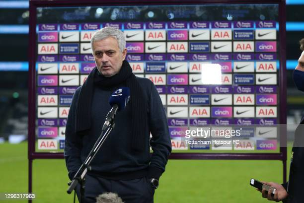 Jose Mourinho, Head Coach of Tottenham Hotspur gives a post-match interview during the Premier League match between Tottenham Hotspur and Fulham at...