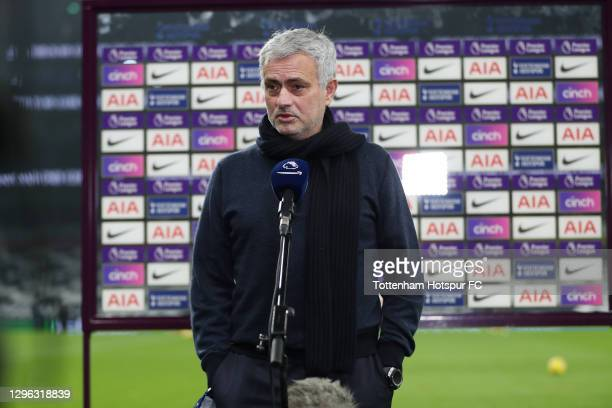 Jose Mourinho, Head Coach of Tottenham Hotspur gives a pre-match interview during the Premier League match between Tottenham Hotspur and Fulham at...