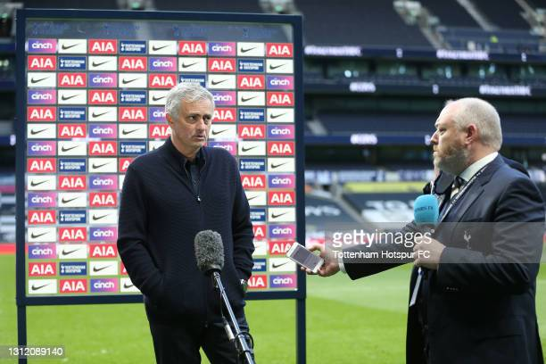 Jose Mourinho, Head Coach of Tottenham Hotspur is interviewed after the final whistle during the Premier League match between Tottenham Hotspur and...