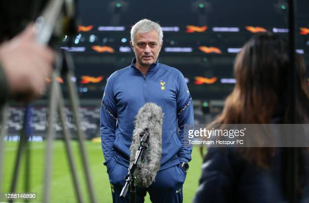 Jose Mourinho Head Coach of Tottenham Hotspur is interviewed prior to the UEFA Europa League Group J stage match between Tottenham Hotspur and PFC...