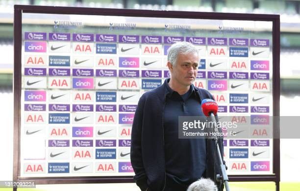Jose Mourinho, Head Coach of Tottenham Hotspur is interviewed prior to the Premier League match between Tottenham Hotspur and Manchester United at...