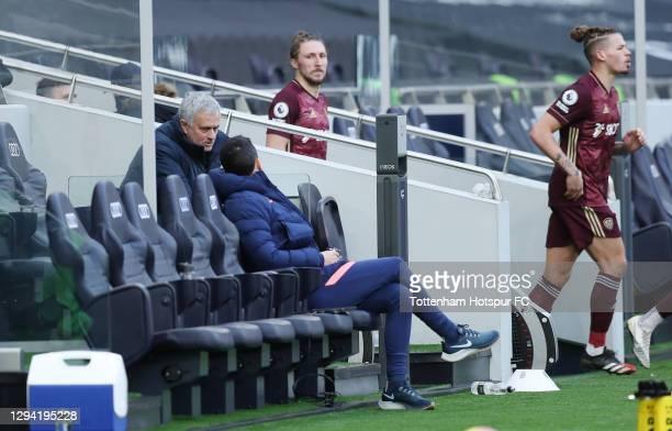 Jose Mourinho, Head Coach of Tottenham Hotspur talks to assistant Joao Sacramento during the Premier League match between Tottenham Hotspur and Leeds...