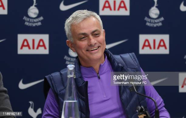 Jose Mourinho Head Coach of Tottenham Hotspur talks to the media during the Tottenham Hotspur press conference at Tottenham Hotspur Training Centre...