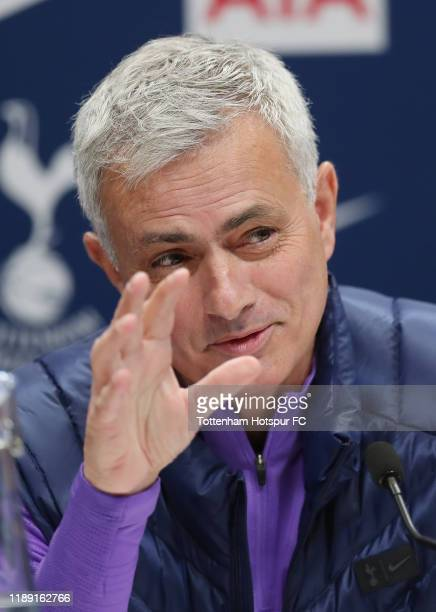 Jose Mourinho Head Coach of Tottenham Hotspur talks to the media during the Tottenham Hotspur press conference at Tottenham Hotspur Training Centre...