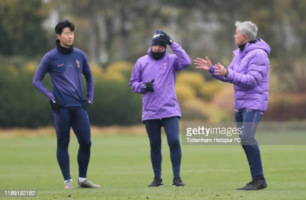Jose Mourinho Head Coach of Tottenham Hotspur talks Tottenham Hotspur HeungMin Son during the Tottenham Hotspur training session at Tottenham Hotspur...