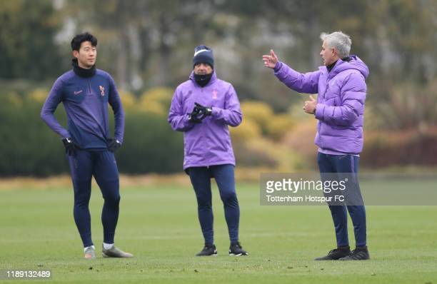 Jose Mourinho Head Coach of Tottenham Hotspur talks Tottenham Hotspur HeungMin Son during the Tottenham Hotspur training session at Tottenham Hotspur...