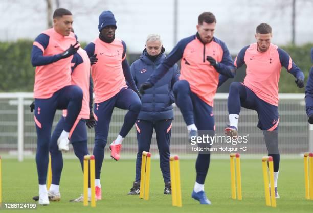 Jose Mourinho Head Coach of Tottenham Hotspur watches during the Tottenham Hotspur training session at Tottenham Hotspur Training Centre on November...