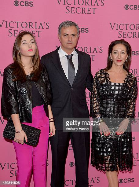 Jose Mourinho his wife Matilde Faria and daughter Matilde attend the pink carpet of the 2014 Victoria's Secret Fashion Show on December 2 2014 in...