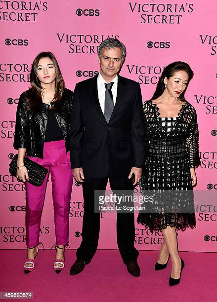 Jose Mourinho his wife Matilde Faria and daughter Matilde attends the annual Victoria's Secret fashion show at Earls Court on December 2 2014 in...