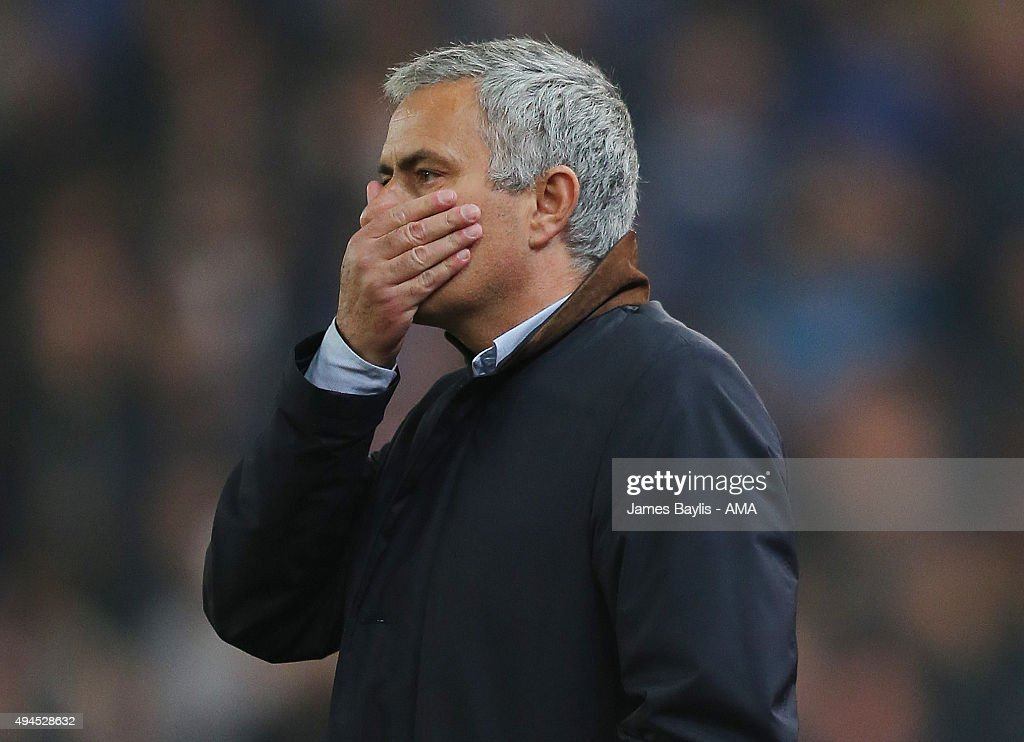 Jose Mourinho Manager / head coach of Chelsea during the Capital One Cup Fourth Round match between Stoke City and Chelsea at Britannia Stadium on October 27, 2015 in Stoke on Trent, England.