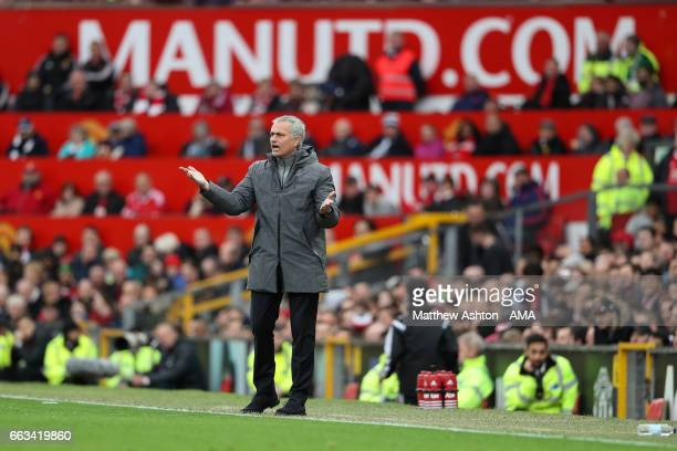 Jose Mourinho manager / head coach of Manchester United during the Premier League match between Manchester United and West Bromwich Albion at Old...