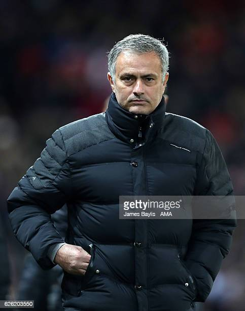 Jose Mourinho manager / head coach of Manchester United during the UEFA Europa League match between Manchester United FC and Feyenoord at Old...