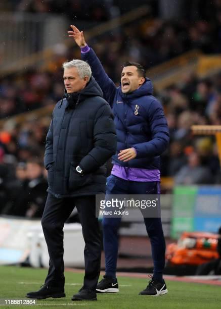 Jose Mourinho manager / head coach of Tottenham Hotspur alongside assistant Joao Sacramento during the Premier League match between Wolverhampton...
