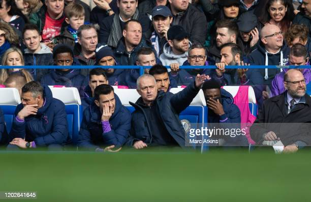 Jose Mourinho manager / head coach of Tottenham Hotspur with assistant Joao Sacramento during the Premier League match between Chelsea FC and...