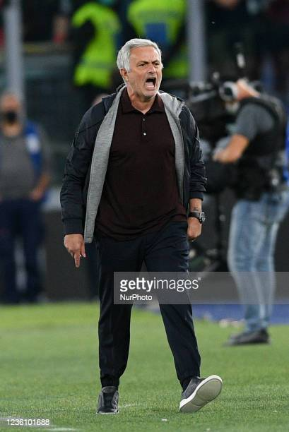 Jose Mourinho manager of AS Roma looks furious during the Serie A match between AS Roma and SSC Napoli Calcio at Stadio Olimpico, Rome, Italy on 24...