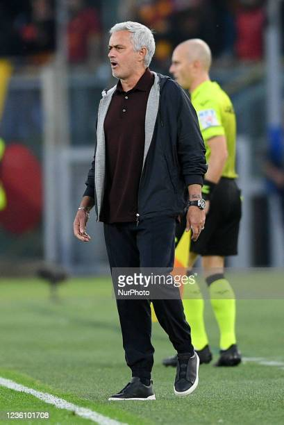 Jose Mourinho manager of AS Roma looks on during the Serie A match between AS Roma and SSC Napoli Calcio at Stadio Olimpico, Rome, Italy on 24...